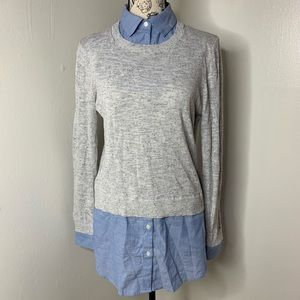 LOFT | Blue Mock Oxford Sweater Layered Tunic
